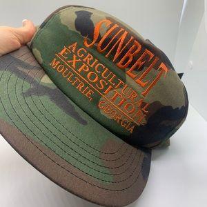 Vintage camouflage hat ironic trendy orange